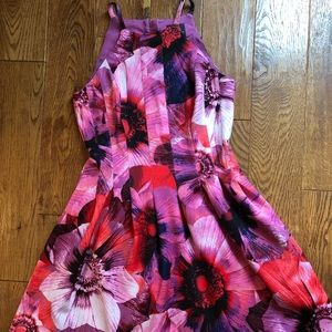 Adrianna Papell pink floral cocktail dress 8P